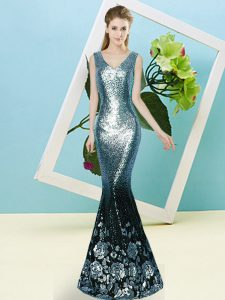 Teal Mermaid V-neck Sleeveless Sequined Floor Length Zipper Sequins Quince Ball Gowns