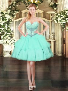 Eye-catching Sweetheart Sleeveless Lace Up Quinceanera Gown Apple Green Organza