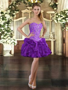 Decent Purple Ball Gowns Beading and Ruffles Quinceanera Dresses Lace Up Organza Sleeveless Mini Length