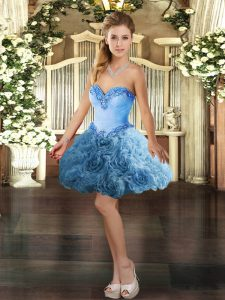 Mini Length Ball Gowns Sleeveless Baby Blue Ball Gown Prom Dress Lace Up
