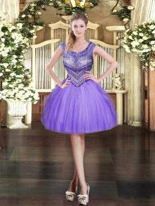 Ideal Sleeveless Tulle Mini Length Zipper Quince Ball Gowns in Lavender with Beading and Ruffles