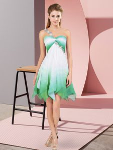 Exquisite Multi-color Empire Beading Quince Ball Gowns Lace Up Fading Color Sleeveless Asymmetrical