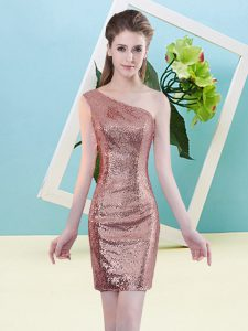Edgy Mini Length Zipper Quinceanera Dress Coral Red for Prom and Party with Sequins