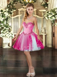 Trendy Sleeveless Lace Up Mini Length Beading Quinceanera Gown