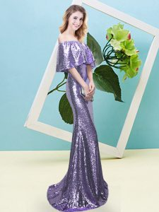 Floor Length Mermaid Half Sleeves Lavender Teens Party Dress Zipper