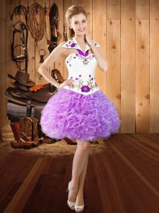 High Class Halter Top Sleeveless Lace Up Quinceanera Dresses Lilac Fabric With Rolling Flowers