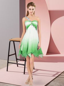 Luxury Fading Color One Shoulder Sleeveless Lace Up Beading 15th Birthday Dress in Multi-color