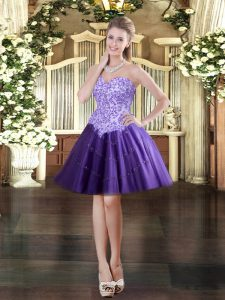 Ball Gowns Quinceanera Gowns Purple Sweetheart Tulle Sleeveless Mini Length Lace Up