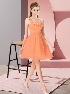 Sophisticated Sleeveless Mini Length Beading and Hand Made Flower Zipper Sweet 16 Dress with Orange Red