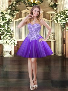 Purple Ball Gowns Tulle Sweetheart Sleeveless Appliques Mini Length Lace Up Vestidos de Quinceanera