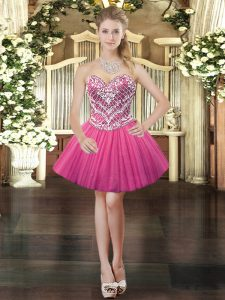 Fantastic Tulle Sweetheart Sleeveless Lace Up Beading 15 Quinceanera Dress in Hot Pink