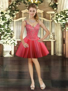 Coral Red V-neck Lace Up Beading Vestidos de Quinceanera Sleeveless