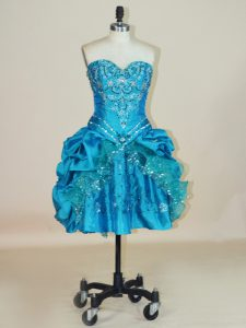 Beauteous Mini Length Lace Up Graduation Dresses Teal for Prom and Party with Beading and Pick Ups