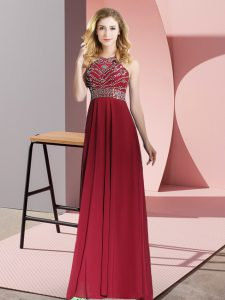 Burgundy Chiffon Backless Graduation Dresses Sleeveless Floor Length Beading