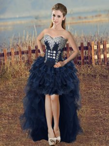 Navy Blue Sweetheart Neckline Beading and Ruffled Layers Graduation Dresses Sleeveless Lace Up