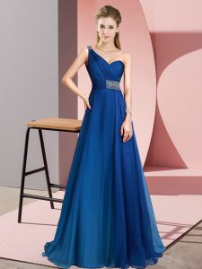 Blue Empire One Shoulder Sleeveless Chiffon Brush Train Criss Cross Beading Graduation Dresses