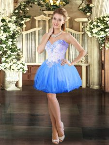 Vintage Mini Length Blue Graduation Dresses Tulle Sleeveless Beading