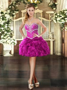 Sweetheart Sleeveless Organza Graduation Dresses Beading and Ruffles Lace Up