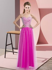 Charming Fuchsia Empire Sweetheart Sleeveless Tulle Floor Length Lace Up Beading Graduation Dresses
