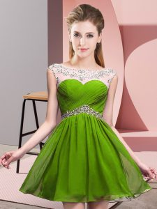 Olive Green Chiffon Backless Graduation Dresses Sleeveless Mini Length Beading and Ruching