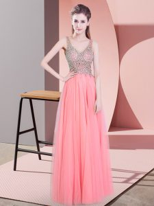 Affordable Floor Length Watermelon Red Graduation Dresses Tulle Sleeveless Beading