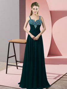 Floor Length Peacock Green Juniors Party Dress Chiffon Sleeveless Beading