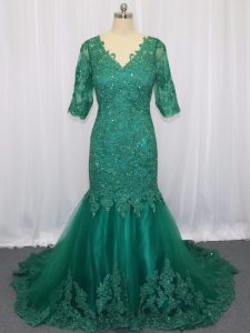 Tulle V-neck Half Sleeves Brush Train Lace Up Lace and Appliques Graduation Dresses in Green