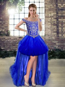 Stylish Royal Blue Sleeveless Beading High Low Graduation Dresses