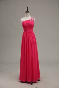 Wonderful Hot Pink Sleeveless Chiffon and Fabric With Rolling Flowers Zipper Graduation Dresses for Prom and Party and Military Ball