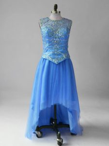 Blue Sleeveless High Low Beading Lace Up Graduation Dresses