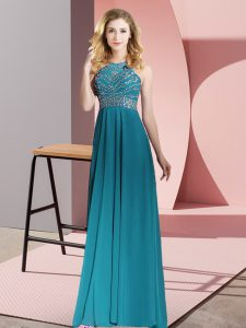 Teal Chiffon Backless Teens Party Dress Sleeveless Floor Length Beading