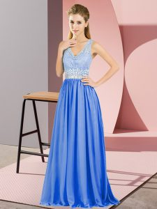 Popular Floor Length Blue Graduation Dresses V-neck Sleeveless Backless
