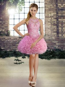 Rose Pink Ball Gowns Fabric With Rolling Flowers Scoop Sleeveless Beading Mini Length Lace Up Graduation Dresses