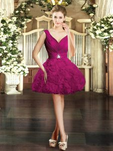 Fuchsia Ball Gowns Fabric With Rolling Flowers V-neck Sleeveless Beading Mini Length Backless Graduation Dresses
