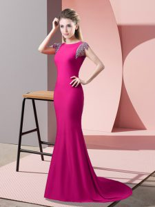 Mermaid Short Sleeves Hot Pink Graduation Dresses Brush Train Backless