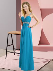 Popular Straps Sleeveless Graduation Dresses Floor Length Beading Blue Chiffon