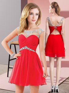Mini Length Backless Graduation Dresses Red for Prom and Party with Beading