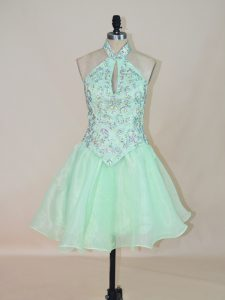 Admirable Beading Graduation Dresses Apple Green Lace Up Sleeveless Mini Length