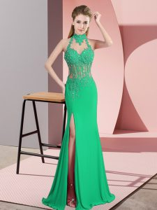 Elegant Green Halter Top Neckline Beading and Lace and Appliques Graduation Dresses Sleeveless Backless