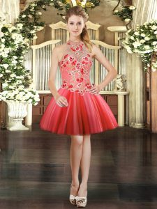 Stylish Coral Red Ball Gowns Tulle Halter Top Sleeveless Embroidery Mini Length Lace Up Graduation Dresses