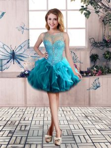 Vintage Tulle Scoop Sleeveless Lace Up Beading and Ruffles Teens Party Dress in Blue