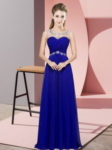 Floor Length Blue Graduation Dresses Scoop Sleeveless Backless