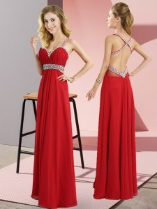 Sleeveless Beading Criss Cross Graduation Dresses
