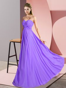 Lavender Sweetheart Neckline Ruching Graduation Dresses Sleeveless Lace Up