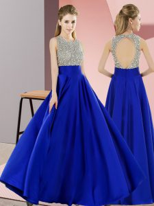 Colorful Royal Blue Empire Beading Teens Party Dress Backless Elastic Woven Satin Sleeveless Floor Length