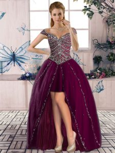 Deluxe Beading Teens Party Dress Purple Lace Up Sleeveless High Low
