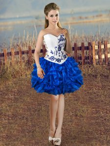 Best Selling Sweetheart Sleeveless Organza Graduation Dresses Embroidery and Ruffles Lace Up