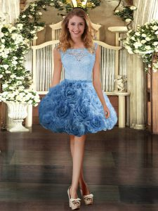 Great Ball Gowns Graduation Dresses Blue Scoop Fabric With Rolling Flowers Sleeveless Mini Length Zipper