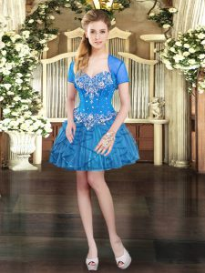 Trendy Sleeveless Mini Length Beading and Ruffles Lace Up Graduation Dresses with Blue