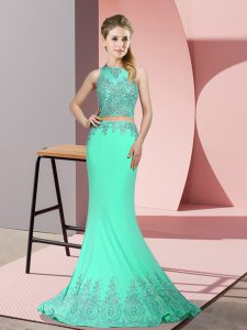 Free and Easy Apple Green Zipper Graduation Dresses Beading and Appliques Sleeveless Sweep Train